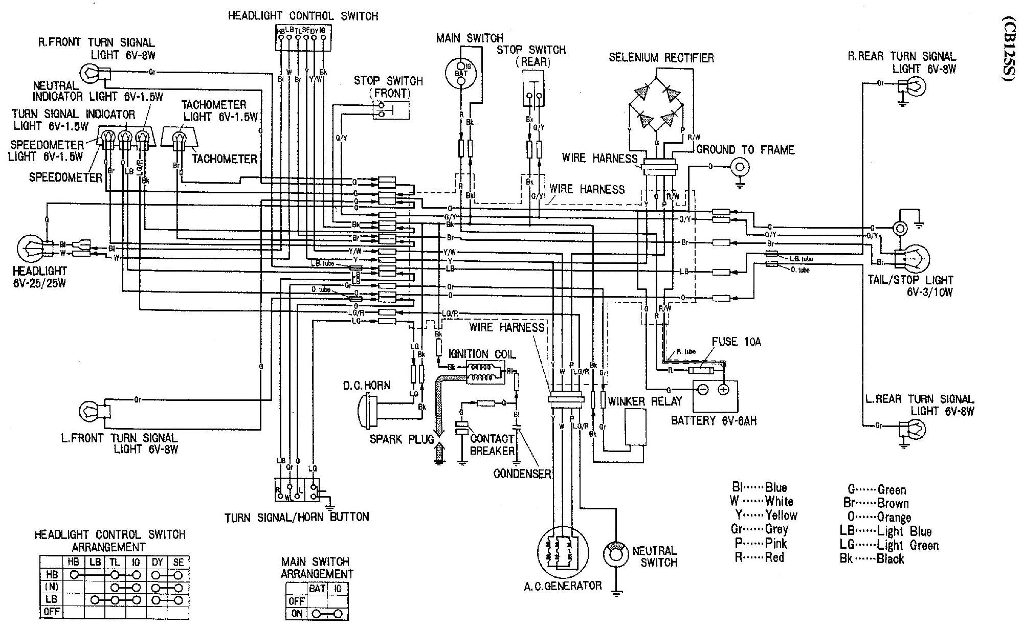cb125 wiring with no key or kill switch honda motorcycle wiring diagrams  cb125 wiring with no