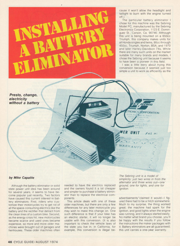 installing a battery eliminator tech article cycle guide magazine August 1974-battery-eliminator-p.1.jpg