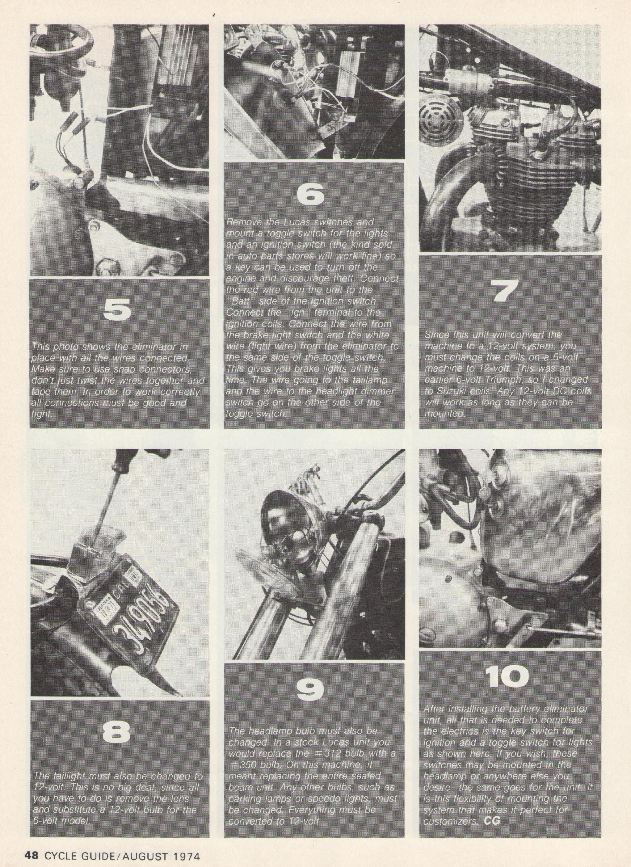 installing a battery eliminator tech article cycle guide magazine August 1974-battery-eliminator-p.3.jpg