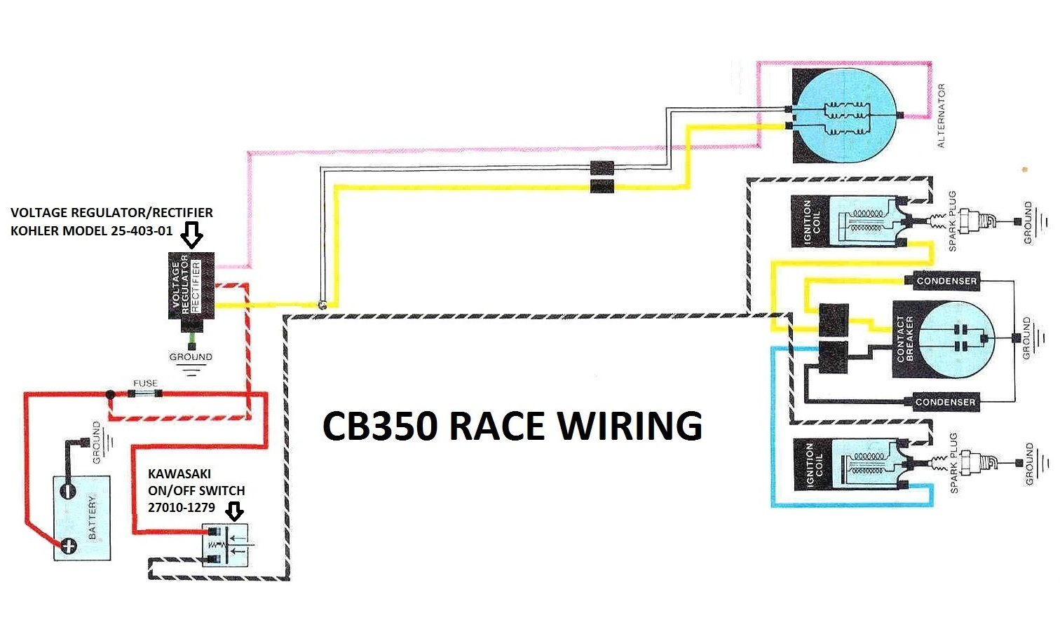 cb 350 wiring diagram detailed schematics diagram rh keyplusrubber com  Light Switch Wiring Diagram 1973 honda