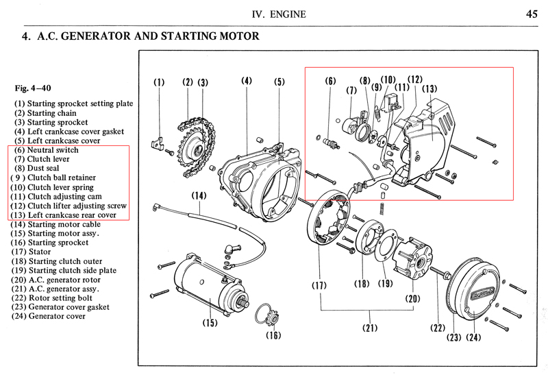cb360 clutch cable crankcase repair rh hondatwins net honda clutch diagram honda cr85 clutch diagram