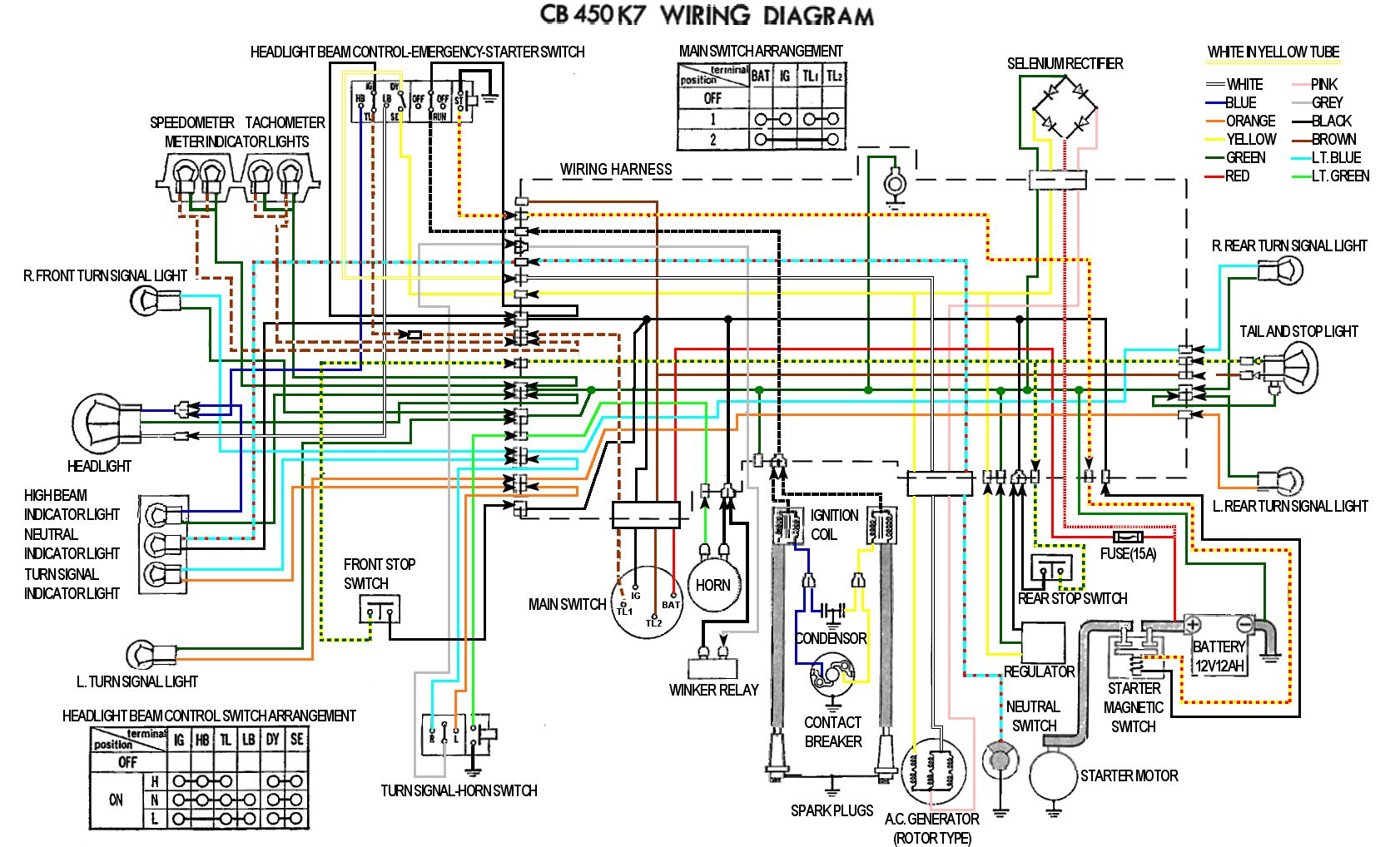 cb450 color wiring diagram now corrected rh hondatwins net 1975 Honda 360 Wiring-Diagram honda cb450 wiring schematic